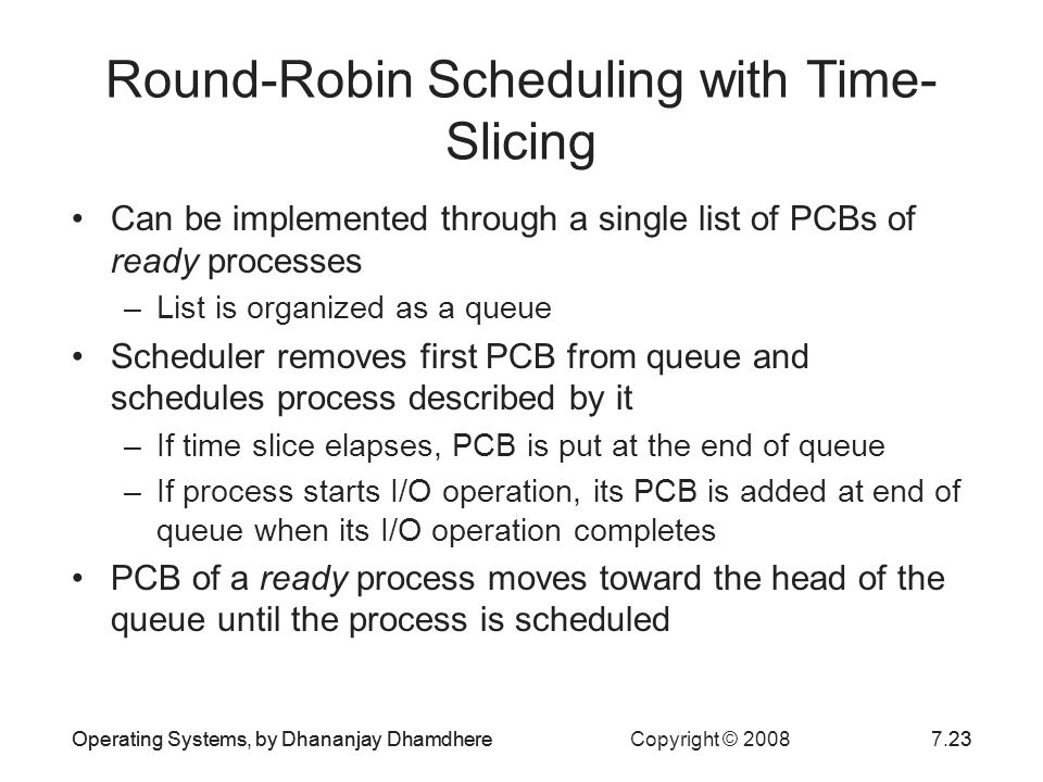 Operating Systems, by Dhananjay Dhamdhere Copyright © 20087.23Operating Systems, by Dhananjay Dhamdhere23 Round-Robin Scheduling with Time- Slicing Ca