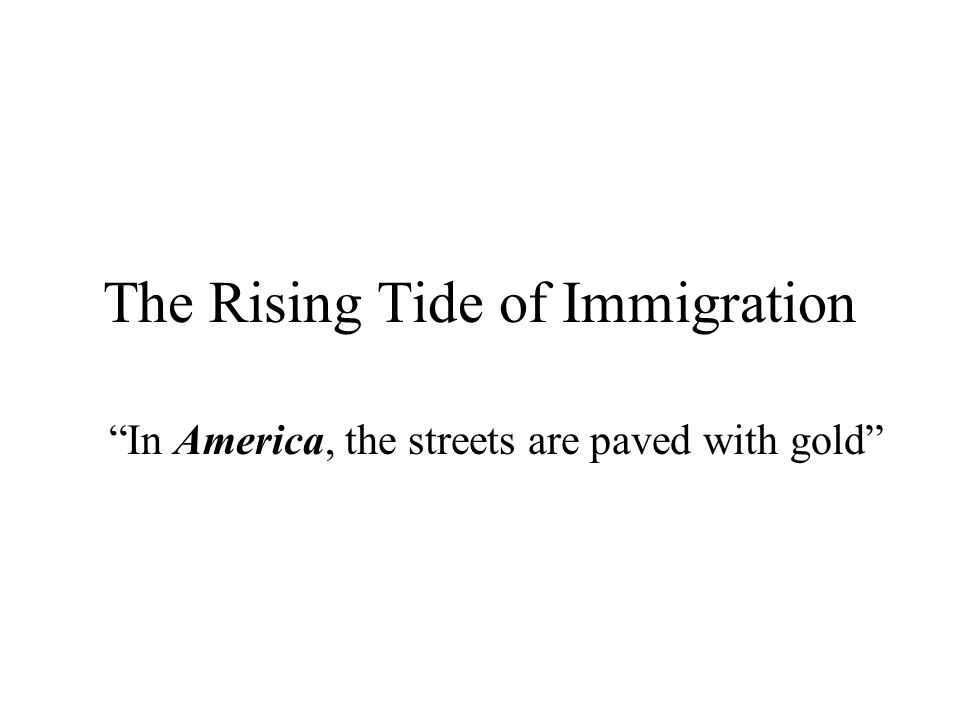"The Rising Tide of Immigration ""In America, the streets are paved with gold"""