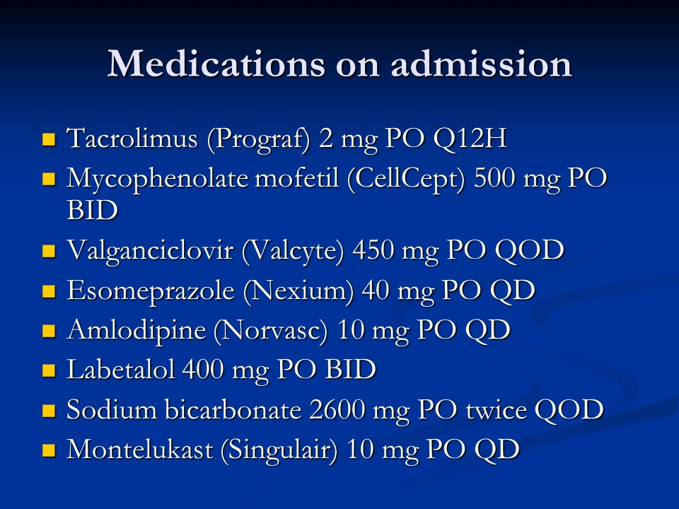 Medications on admission Iron 325 mg PO BID Iron 325 mg PO BID ASA (Aspirin) 81 mg PO QD ASA (Aspirin) 81 mg PO QD Fluticasone propionate/Salmeterol 500/50 mg (Advair diskus 500/50) 1 puff BID Fluticasone propionate/Salmeterol 500/50 mg (Advair diskus 500/50) 1 puff BID Nasonex spray Nasonex spray Furosemide (Lasix) 40 mg PO BID Furosemide (Lasix) 40 mg PO BID Atorvastatin (Lipitor) 10 mg PO QPM Atorvastatin (Lipitor) 10 mg PO QPM Multivitamin PO QPM Multivitamin PO QPM Renagel (Sevelamer) 800 mg PO TID Renagel (Sevelamer) 800 mg PO TID