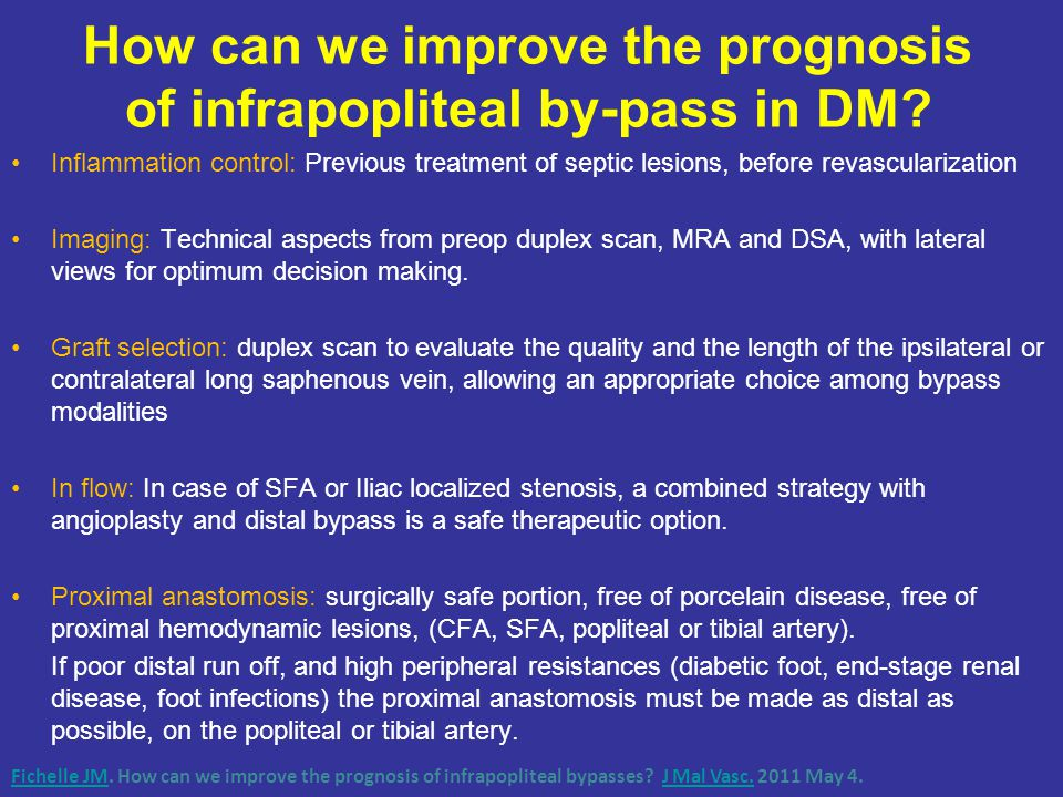How can we improve the prognosis of infrapopliteal by-pass in DM.