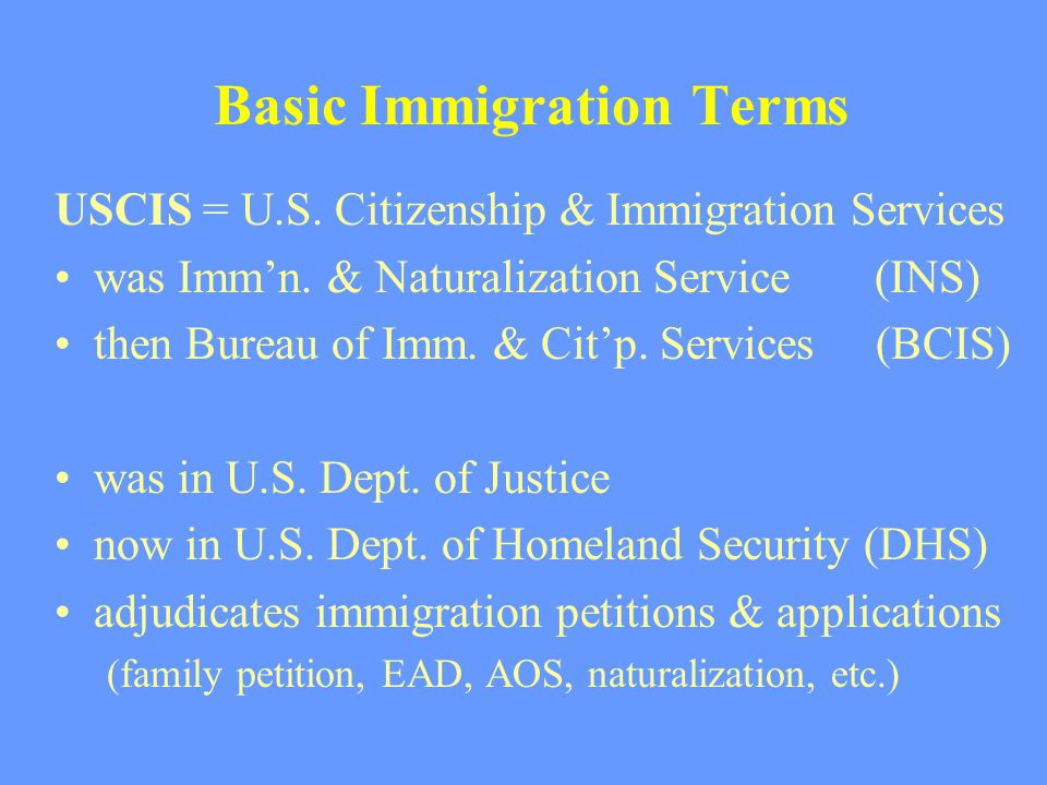 Basic Immigration Terms USCIS = U.S. Citizenship & Immigration Services was Imm'n.