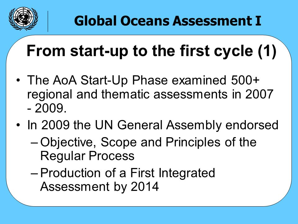 The AoA Start-Up Phase examined 500+ regional and thematic assessments in 2007 - 2009.