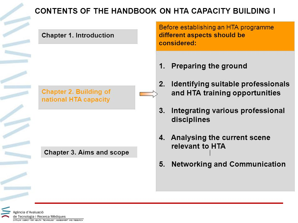 CATALAN AGENCY FOR HEALTH TECHNOLOGY ASSESSMENT AND RESEARCH CONTENTS OF THE HANDBOOK ON HTA CAPACITY BUILDING I Chapter 2.