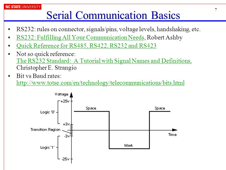 7 Serial Communication Basics RS232: rules on connector, signals/pins, voltage levels, handshaking, etc.