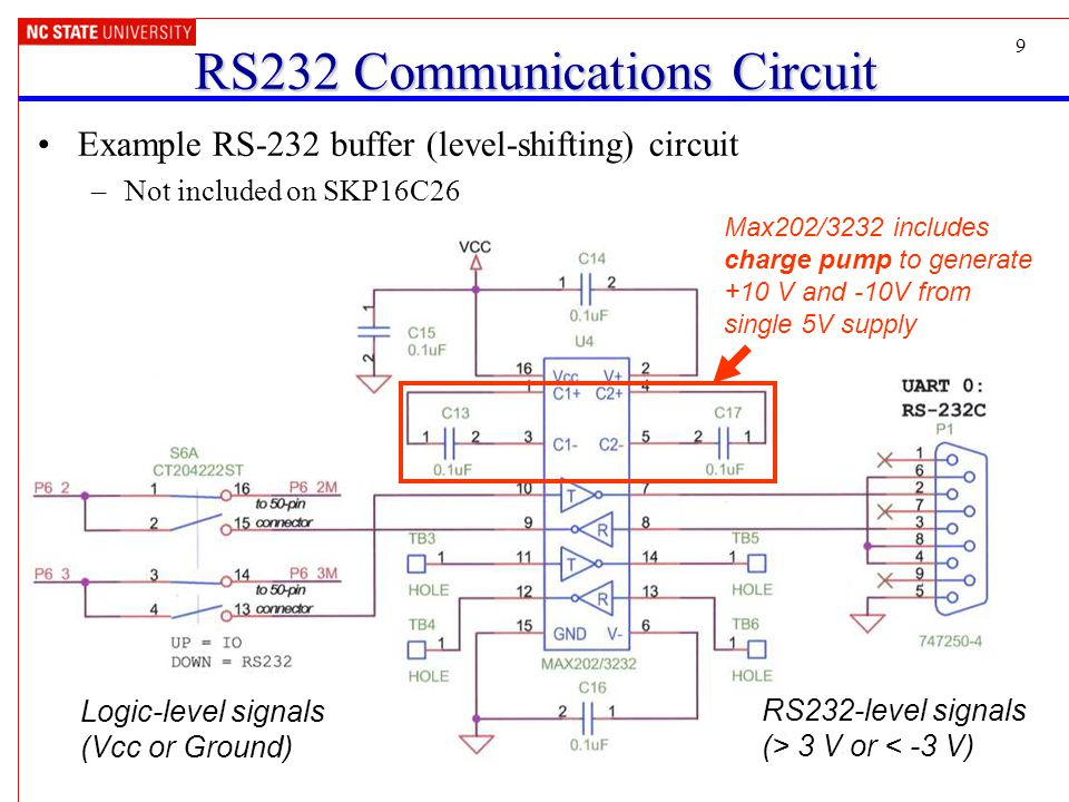 9 RS232 Communications Circuit Example RS-232 buffer (level-shifting) circuit –Not included on SKP16C26 Max202/3232 includes charge pump to generate +10 V and -10V from single 5V supply Logic-level signals (Vcc or Ground) RS232-level signals (> 3 V or < -3 V)