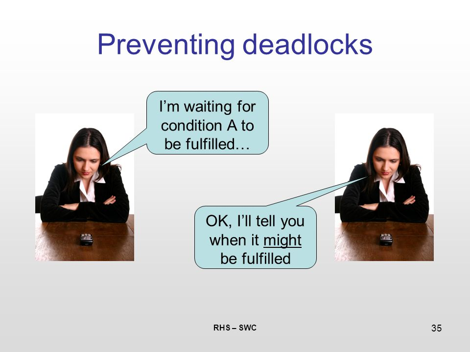 RHS – SWC 35 Preventing deadlocks I'm waiting for condition A to be fulfilled… OK, I'll tell you when it might be fulfilled