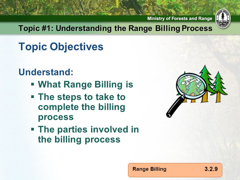 Range Billing Topic #1: Understanding the Range Billing Process Topic Objectives Understand:  What Range Billing is  The steps to take to complete the billing process  The parties involved in the billing process 3.2.9