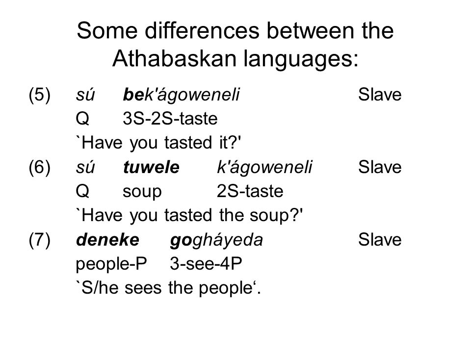 Some differences between the Athabaskan languages: (5)súbek ágoweneliSlave Q3S-2S-taste `Have you tasted it (6)sútuwelek ágoweneliSlave Qsoup2S-taste `Have you tasted the soup (7)denekegogháyedaSlave people-P3-see-4P `S/he sees the people'.