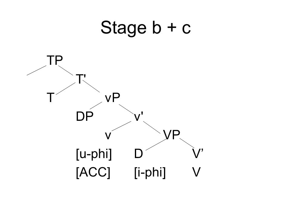 Stage b + c TP T' TvP DPv' vVP [u-phi]DV' [ACC][i-phi]V