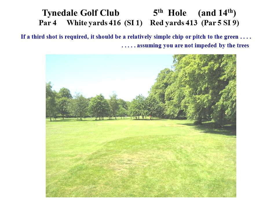 Tynedale Golf Club 5 th Hole (and 14 th ) Par 4White yards 416 (SI 1)Red yards 413 (Par 5 SI 9) If a third shot is required, it should be a relatively simple chip or pitch to the green.........