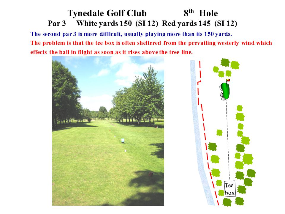 Tynedale Golf Club 8 th Hole Par 3White yards 150 (SI 12)Red yards 145 (SI 12) The second par 3 is more difficult, usually playing more than its 150 yards.