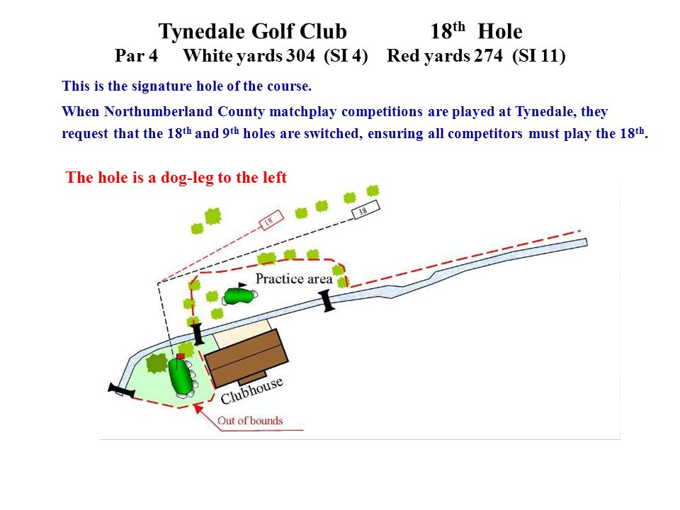 Tynedale Golf Club 18 th Hole Par 4White yards 304 (SI 4)Red yards 274 (SI 11) This is the signature hole of the course.