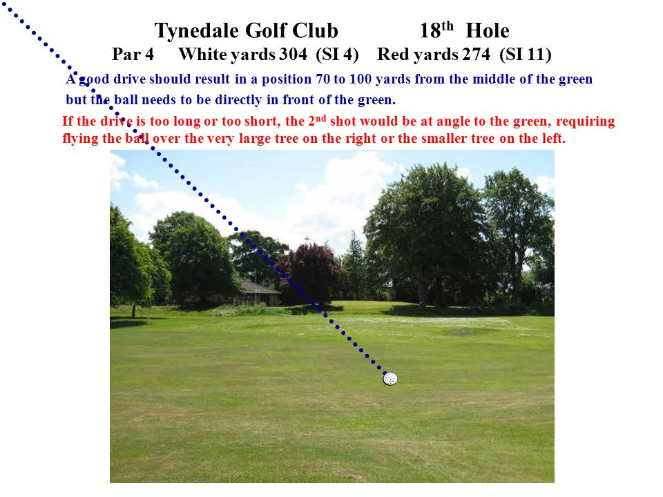 Tynedale Golf Club 18 th Hole Par 4White yards 304 (SI 4)Red yards 274 (SI 11) A good drive should result in a position 70 to 100 yards from the middl