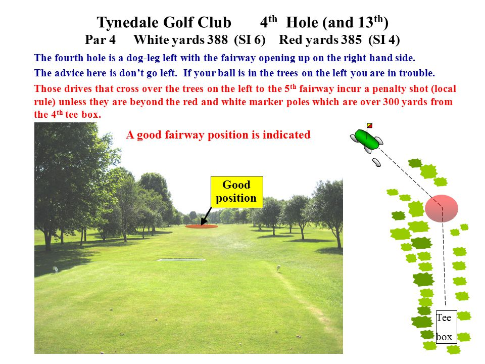 Tynedale Golf Club 4 th Hole (and 13 th ) Par 4White yards 388 (SI 6)Red yards 385 (SI 4) The fourth hole is a dog-leg left with the fairway opening up on the right hand side.