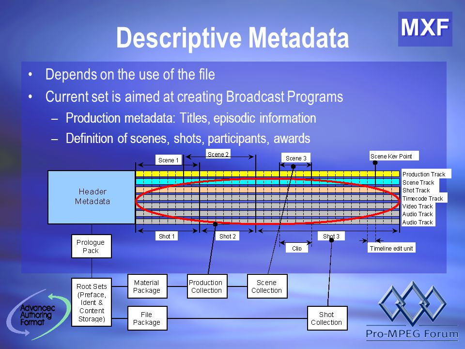 MXF Descriptive Metadata Depends on the use of the file Current set is aimed at creating Broadcast Programs –Production metadata: Titles, episodic information –Definition of scenes, shots, participants, awards