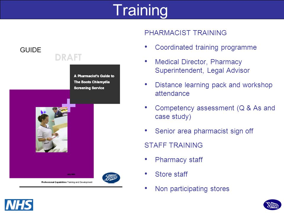14 Training PHARMACIST TRAINING Coordinated training programme Medical Director, Pharmacy Superintendent, Legal Advisor Distance learning pack and workshop attendance Competency assessment (Q & As and case study) Senior area pharmacist sign off STAFF TRAINING Pharmacy staff Store staff Non participating stores