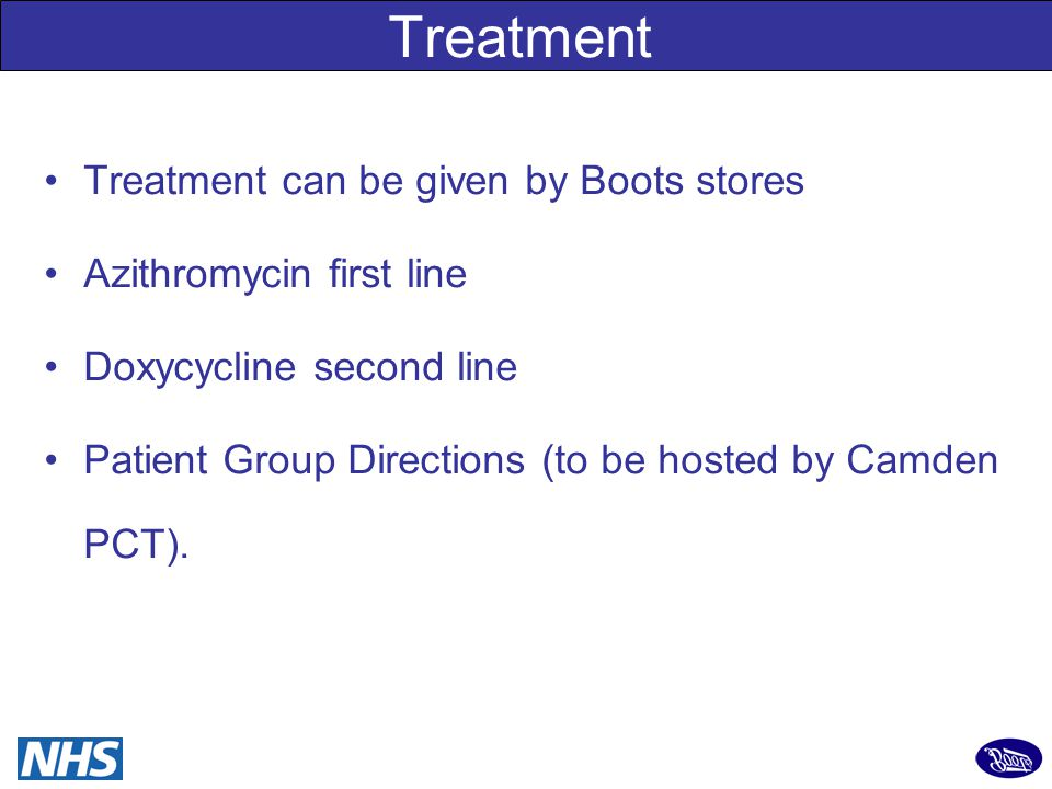 10 Chlamydia Positive Results Positive results received from Boots daily CSO contacts client by requested method: phone, text or letter Explain result, initiate PN, triage for treatment If within PGD criteria, offered option of free treatment at any Boots in London or GU Clinics If does not meet PGD criteria, Explore options: GU clinics, general practice ….