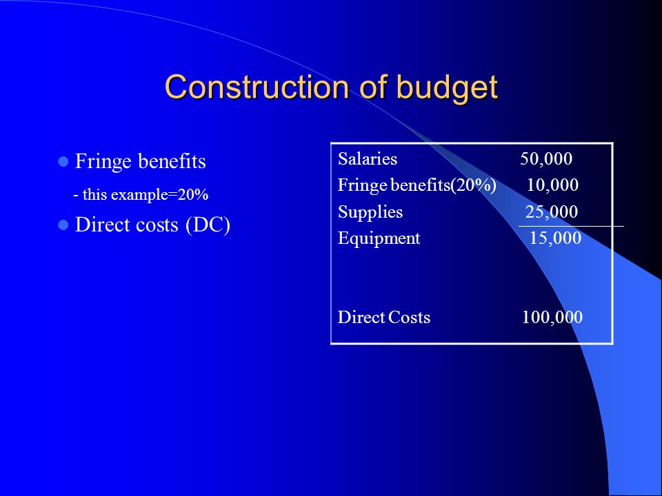 Construction of budget Fringe benefits - this example=20% Direct costs (DC) Salaries 50,000 Fringe benefits(20%) 10,000 Supplies 25,000 Equipment 15,000 Direct Costs 100,000