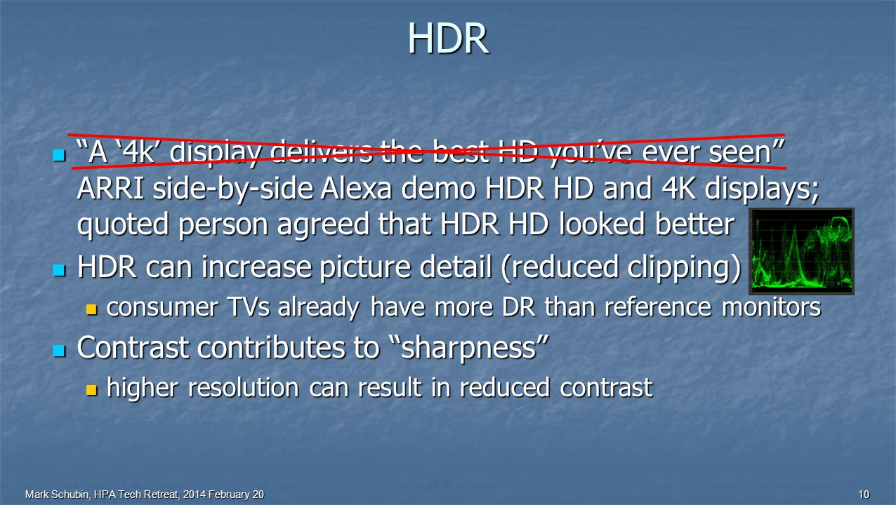 Mark Schubin, HPA Tech Retreat, 2014 February 2010 HDR A '4k' display delivers the best HD you've ever seen ARRI side-by-side Alexa demo HDR HD and 4K displays; quoted person agreed that HDR HD looked better A '4k' display delivers the best HD you've ever seen ARRI side-by-side Alexa demo HDR HD and 4K displays; quoted person agreed that HDR HD looked better HDR can increase picture detail (reduced clipping) HDR can increase picture detail (reduced clipping) consumer TVs already have more DR than reference monitors consumer TVs already have more DR than reference monitors Contrast contributes to sharpness Contrast contributes to sharpness higher resolution can result in reduced contrast higher resolution can result in reduced contrast