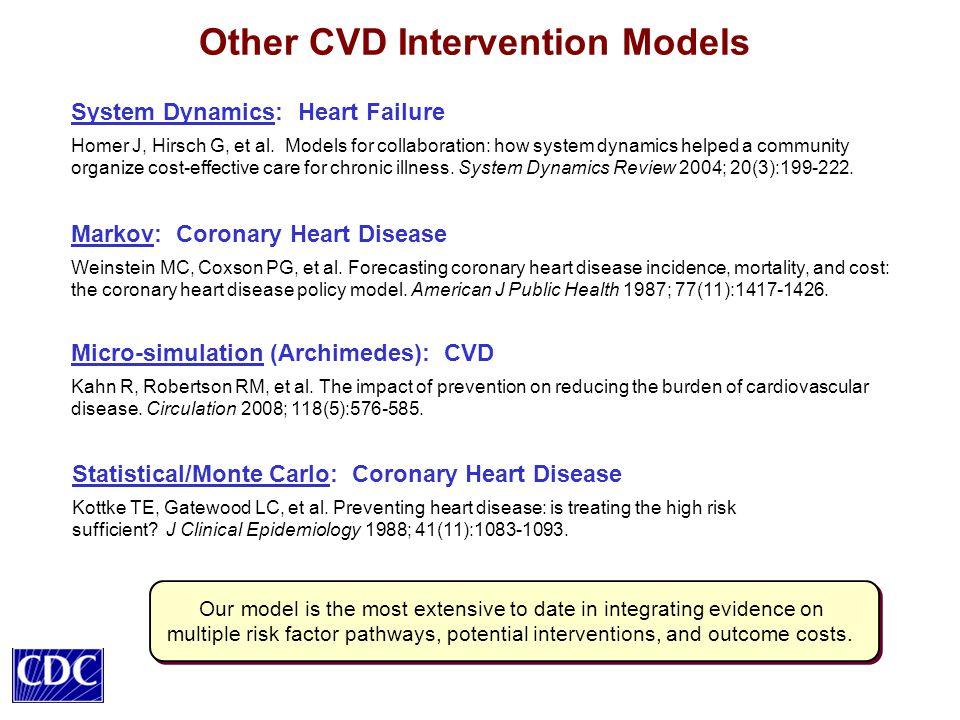 Other CVD Intervention Models Markov: Coronary Heart Disease Weinstein MC, Coxson PG, et al.