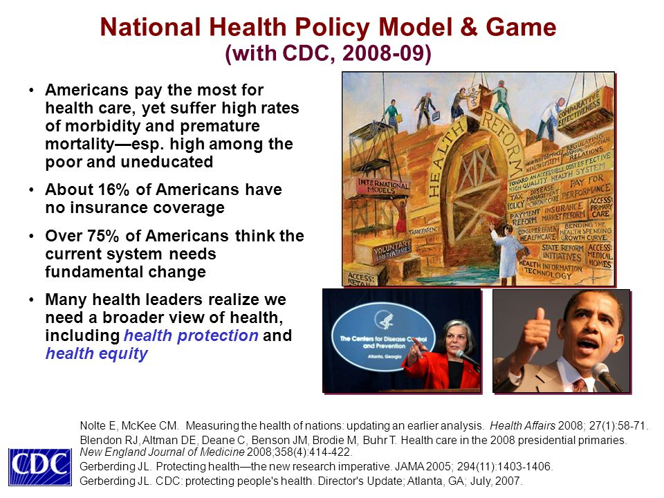 National Health Policy Model & Game (with CDC, 2008-09) Americans pay the most for health care, yet suffer high rates of morbidity and premature mortality—esp.
