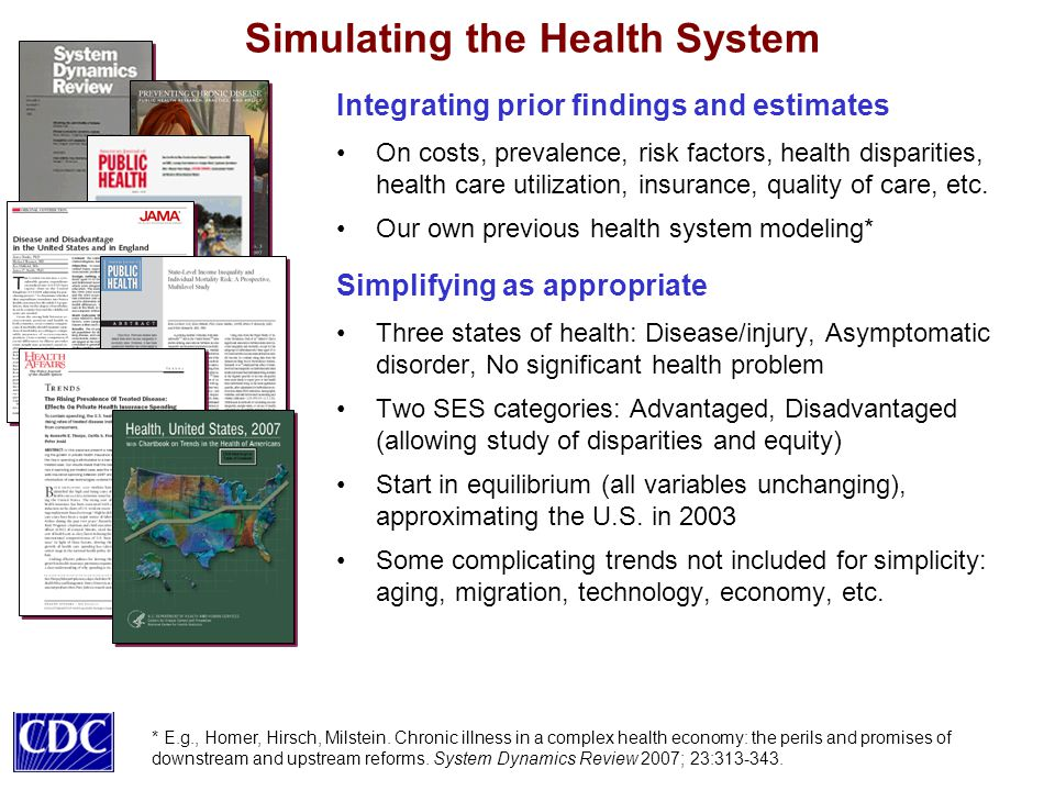 Simulating the Health System Integrating prior findings and estimates On costs, prevalence, risk factors, health disparities, health care utilization, insurance, quality of care, etc.