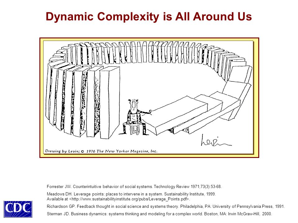 Dynamic Complexity is All Around Us Forrester JW.Counterintuitive behavior of social systems.