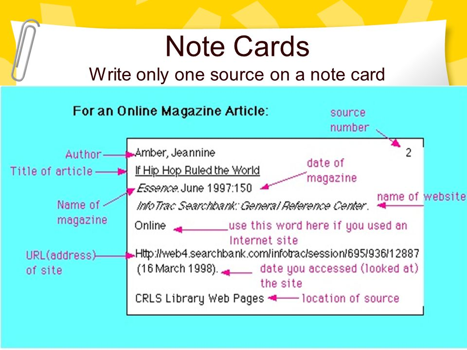 """Note Cards Write only one source on a note card """"Jacob Zuma, the president of South Africa, has taken himself a wife."""" National Review 25 Jan. 2010: 1"""