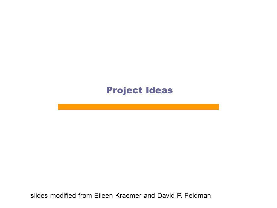 Project Ideas slides modified from Eileen Kraemer and David P. Feldman
