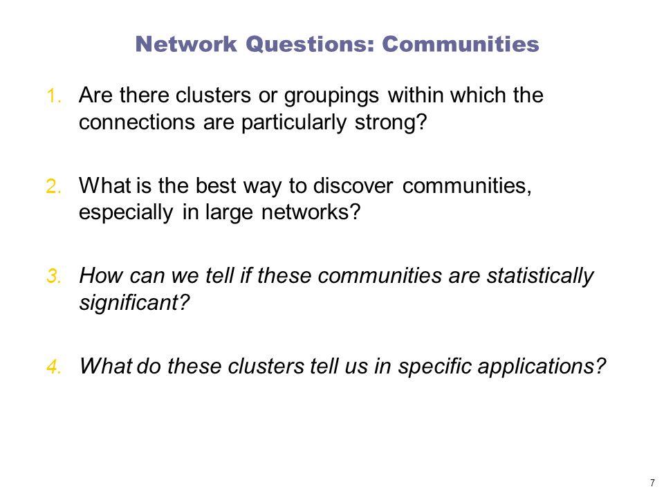 Network Questions: Communities 1.