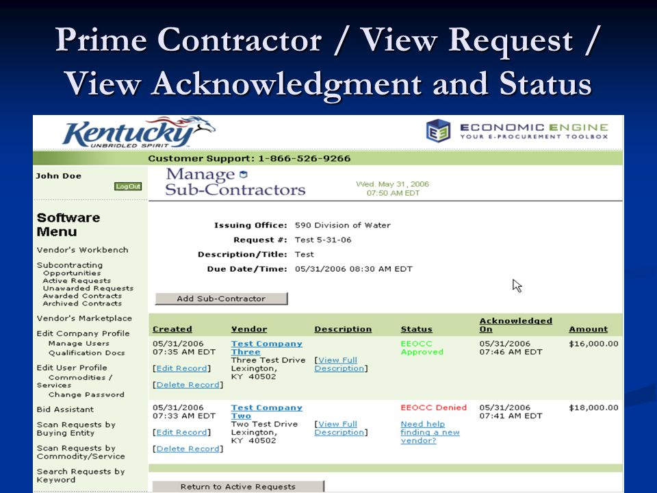 Prime Contractor / View Request / View Acknowledgment and Status