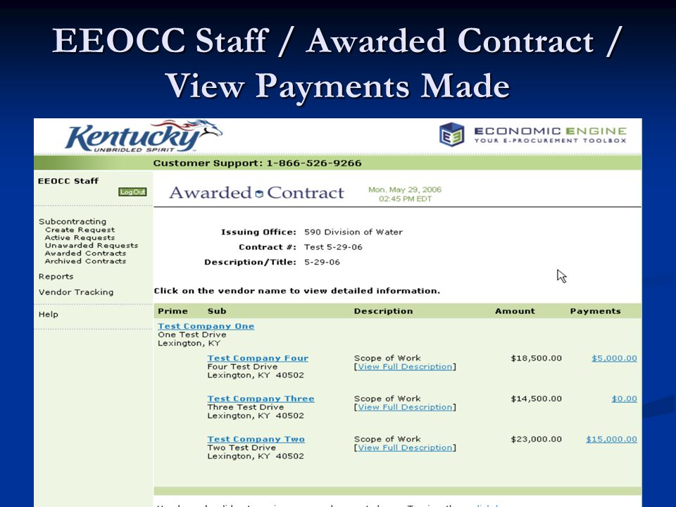 EEOCC Staff / Awarded Contract / View Payments Made