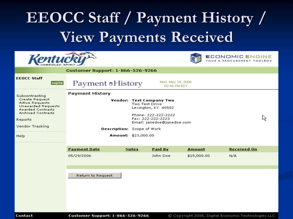 EEOCC Staff / Payment History / View Payments Received