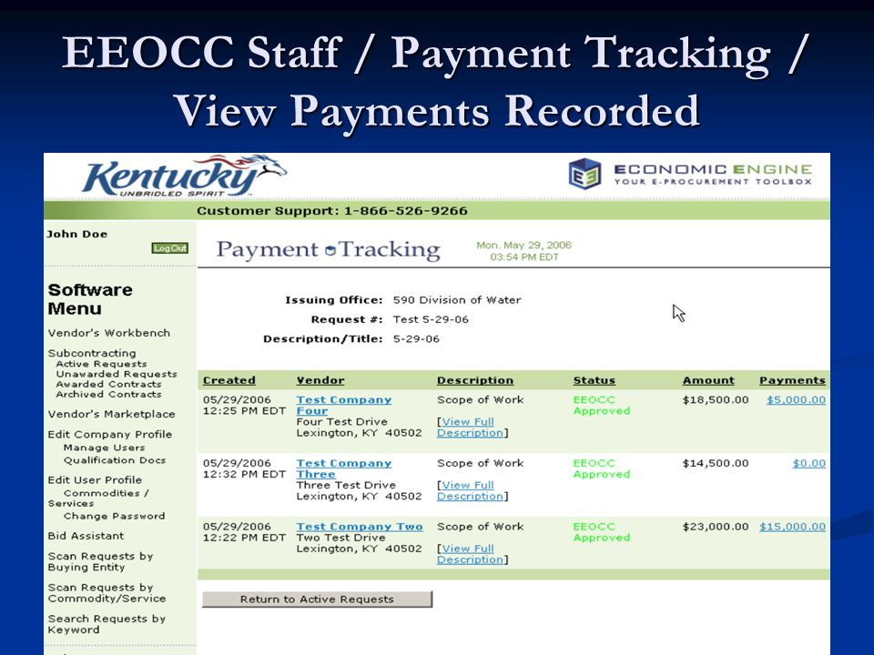 EEOCC Staff / Payment Tracking / View Payments Recorded