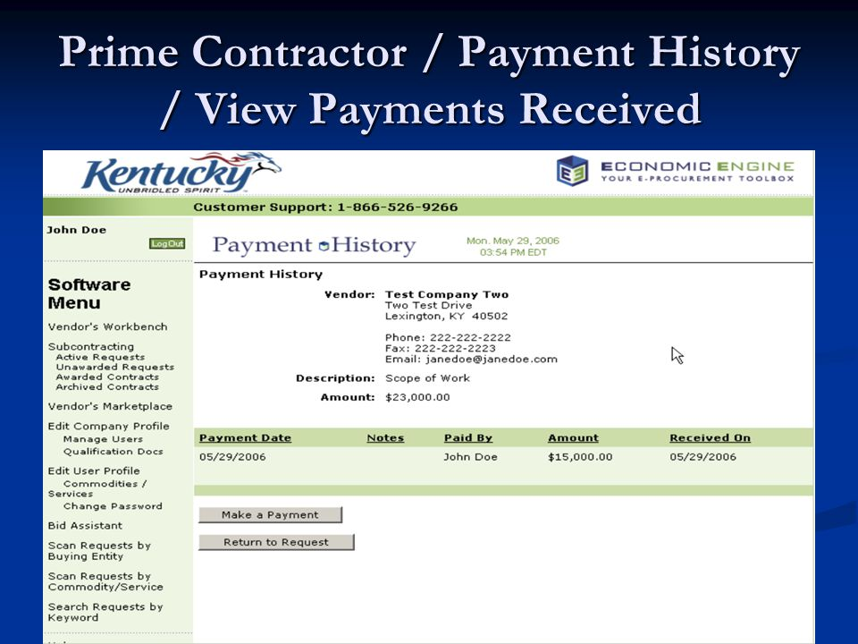 Prime Contractor / Payment History / View Payments Received