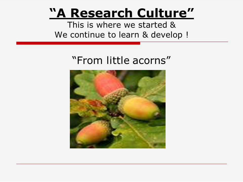 A Research Culture This is where we started & We continue to learn & develop .