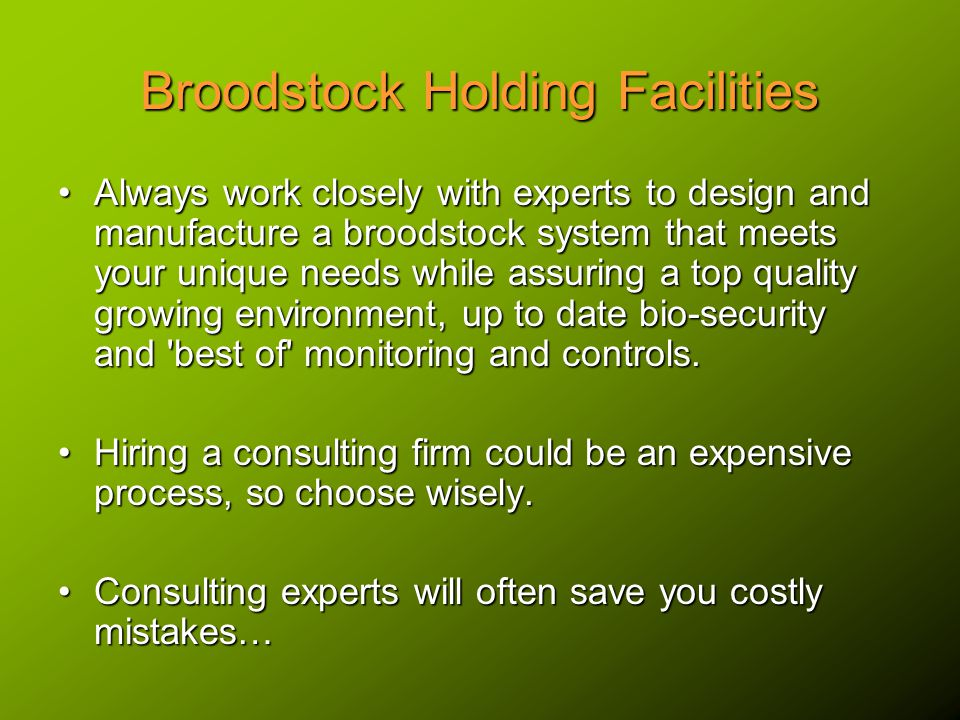 Broodstock Holding Facilities Always work closely with experts to design and manufacture a broodstock system that meets your unique needs while assuring a top quality growing environment, up to date bio-security and best of monitoring and controls.Always work closely with experts to design and manufacture a broodstock system that meets your unique needs while assuring a top quality growing environment, up to date bio-security and best of monitoring and controls.