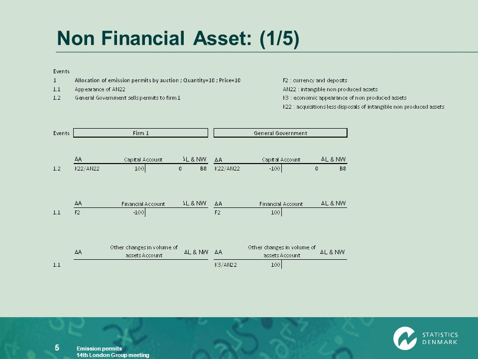 Emission permits 14th London Group meeting 5 Non Financial Asset: (1/5)