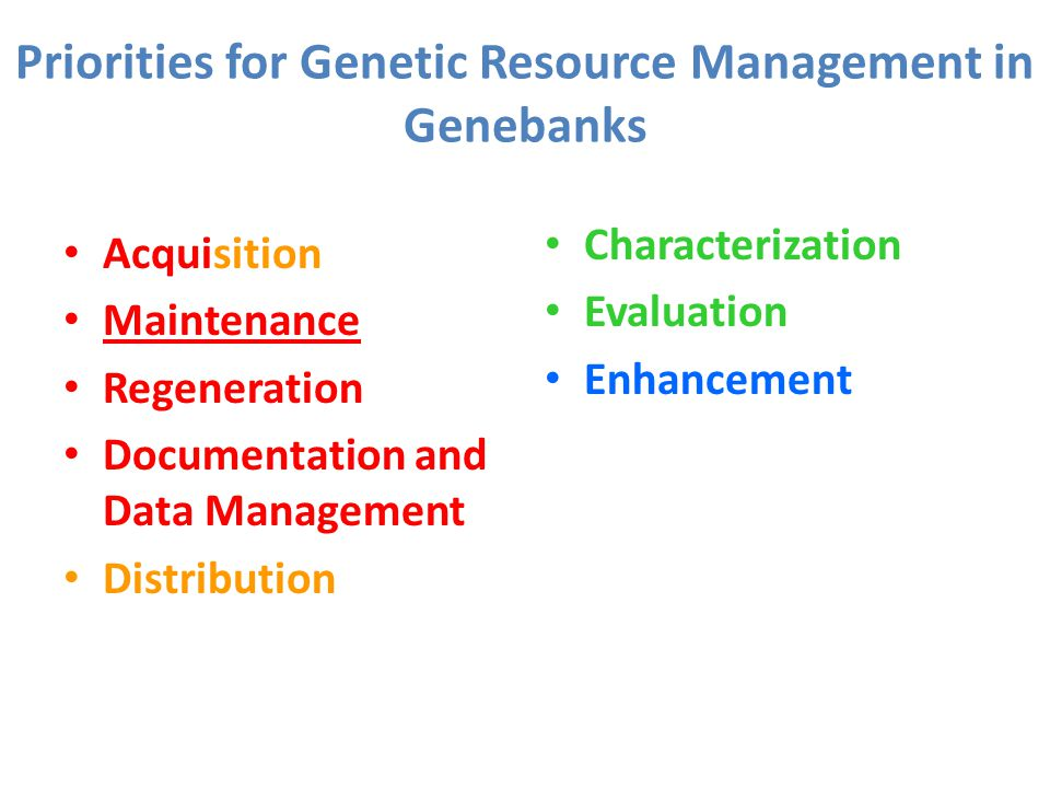 Priorities for Genetic Resource Management in Genebanks Acquisition Maintenance Regeneration Documentation and Data Management Distribution Characterization Evaluation Enhancement