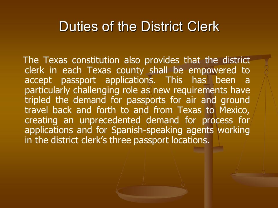 District Clerk Juvenile Court Responsibilities The District Clerk's office manages judicial process for the two statutory juvenile courts located in the Henry Wade Juvenile Justice Center.
