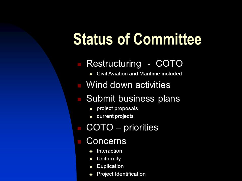 Status of Committee RCC  Coordinating sub-committee of COLTO RMC  Technical sub-committee of RCC Purpose  Identify needs  Formulate and manage projects  TRH & TMH documents  New and revisions  Technical advice & support Funding  NDOT & SANRAL  Provincial contributions  Cost based priority