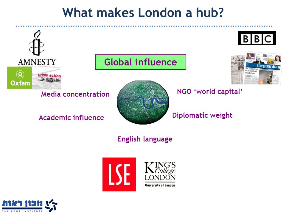 What makes London a hub? Media concentration Academic influence Diplomatic weight NGO 'world capital' English language Global influence