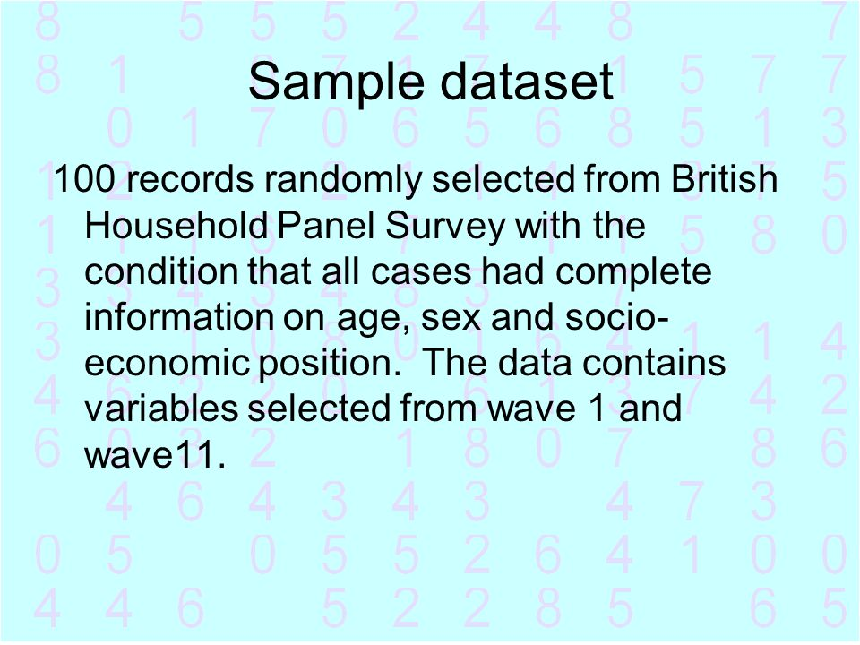 Sample dataset 100 records randomly selected from British Household Panel Survey with the condition that all cases had complete information on age, se