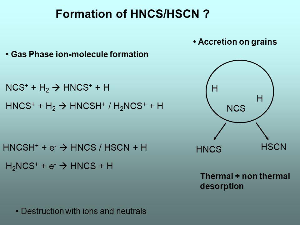 Formation of HNCS/HSCN ? HNCS + + H 2  HNCSH + / H 2 NCS + + H NCS + + H 2  HNCS + + H HNCSH + + e -  HNCS / HSCN + H H 2 NCS + + e -  HNCS + H Ga