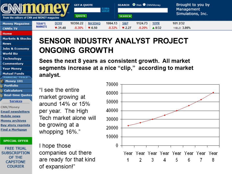 """SENSOR INDUSTRY ANALYST PROJECT ONGOING GROWTH Sees the next 8 years as consistent growth. All market segments increase at a nice """"clip,"""" according to"""