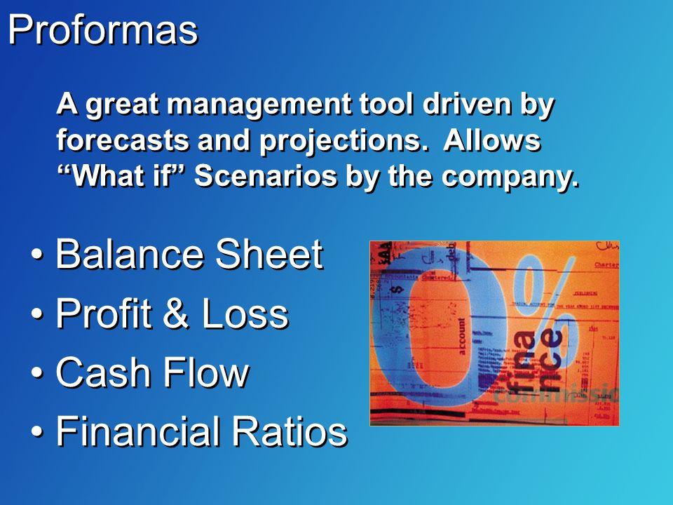 Balance Sheet Profit & Loss Cash Flow Financial Ratios Balance Sheet Profit & Loss Cash Flow Financial Ratios Proformas A great management tool driven