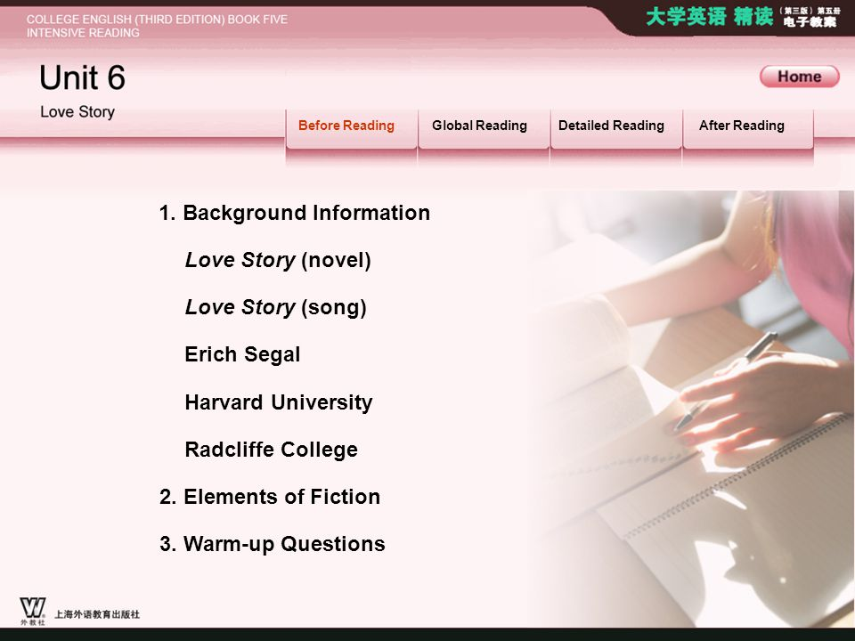Love Story (novel) Harvard University BR_MAIN Before ReadingGlobal ReadingDetailed ReadingAfter Reading Love Story (song) 1.