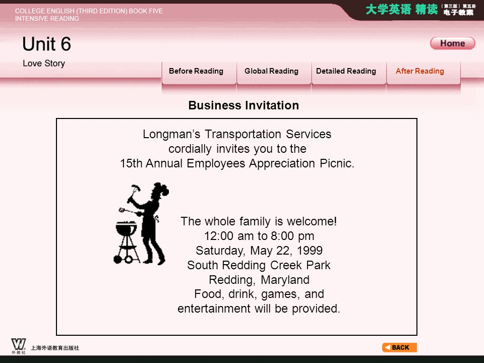 After Reading_6.1_2.2 Before ReadingGlobal ReadingDetailed ReadingAfter Reading Business Invitation Longman's Transportation Services cordially invite