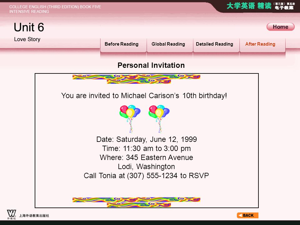 After Reading_6.1_2.3 Before ReadingGlobal ReadingDetailed ReadingAfter Reading Personal Invitation You are invited to Michael Carison's 10th birthday.