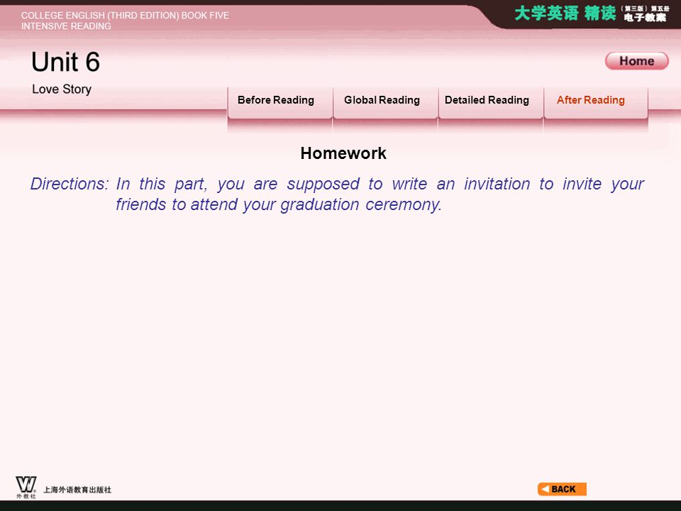After Reading_6.2 Before ReadingGlobal ReadingDetailed ReadingAfter Reading Homework In this part, you are supposed to write an invitation to invite y